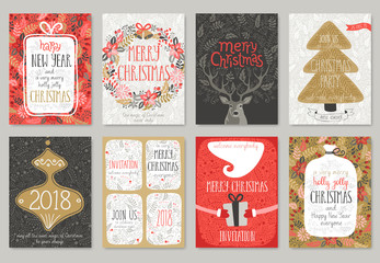 Wall Mural - Christmas hand drawn card set.