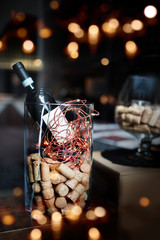 Festive decoration with a bottle of wine