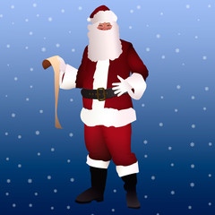Santa Claus standing with paper in hand. full face