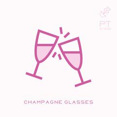 Line icon champagne glasses