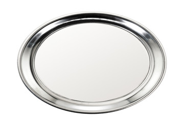 Stainless tray / Stainless tray on white background. Top view.