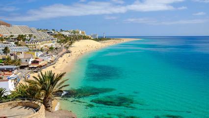 Beach in Playa del Matorral in Morro Jable, Fuerteventura, Spain.