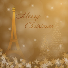 Christmas time. Christmas trees and stars with Eiffel tower. Text : Merry Christmas.