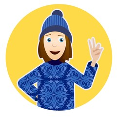 Illustration with smiling girl in sweater with snowflakes, hat and victory hand