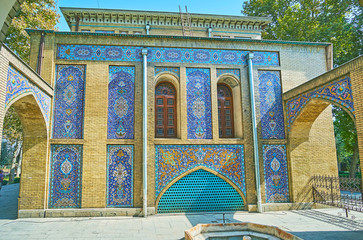 Tiled panels on Windcatchers building of Golestan, Tehran
