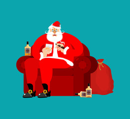 Santa Claus on chair and drinking whiskey and smoking cigar. Drunk grandfather. Christmas rest. New Year Vector Illustration
