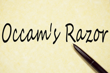 Ockham's Razor text write on paper