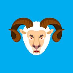 Ram angry face. Sheep evil emoji. Farm animal aggressive. Vector illustration