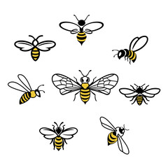 Honey bee Icons. Set of honey and bee labels for honey logo products. Isolated insect icon. Flying bee. Flat style vector illustration.