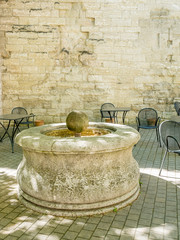 Well near Pont d'Avignon, the water system in Medieval period, in France