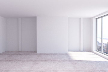 Abstract room with empty wall
