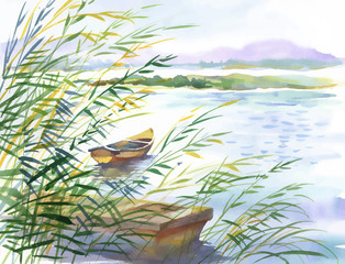 Watercolor illustration of rural landscape with boat.