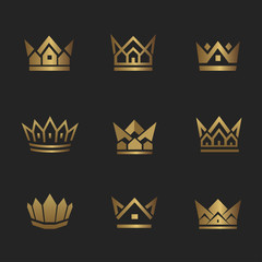 Real Estate Crown. Golden house line icon. Can be used for realty estate, apartment, residential property or hotel logo template.