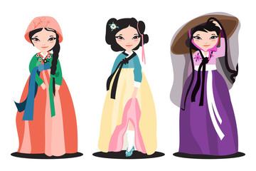 Set of the beautiful hanboks on korean women. Traditional korean dress. Flat, cartoon illustration