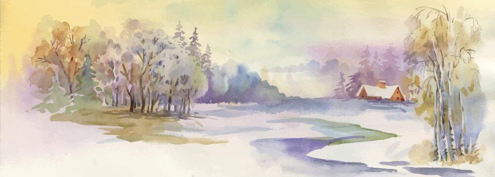 Watercolor winter landscape illustration.