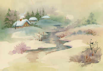 Watercolor rural house in winter day illustration.