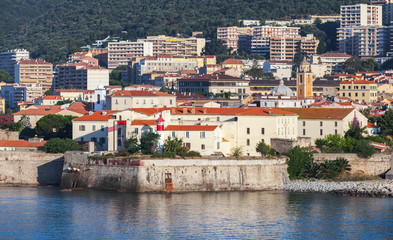 Ajaccio, coastal cityscape with old citadel