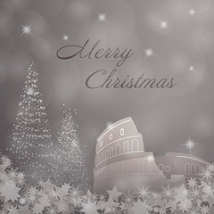 Christmas time. Christmas trees and stars with Colosseum. Text : Merry Christmas.