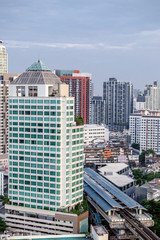 Sky view of city buildings with blue sky at Bangkok Thailand