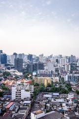 Bangkok Ekamai city buildings with blue sky