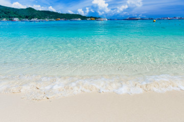 Clear blue sea and white sand at the andaman island.