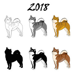 Vector illustration of an image of a dog breed of Shiba Inu. Black line, black and white and gray spots, black silhouette, color image. The inscription 2018.