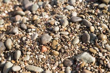 Pebble background. Stones on beach. Nature