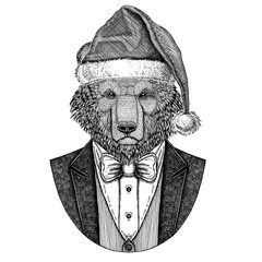Brown bear Russian bear Hand drawn illustration for tattoo, t-shirt, logotype Bear wearing jacket, vest and bow tie Christmas hat