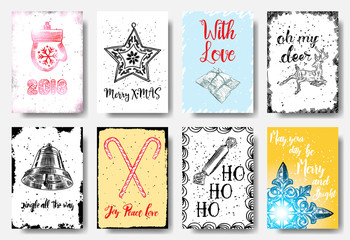Christmas hand drawn cards with calligraphy 2018, Merry X MAS, with love, oh my deer, jingle all th way, Joy Peace Love, ho ho ho, May your da be Merry and Bright. Vector.