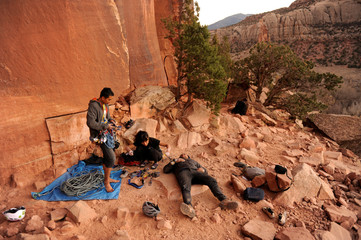 Rock climbers take a break near the Indian Creek area of Bears Ears, New Mexico