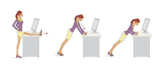 A young woman in the office performs exercises to strengthen the arms and legs using the desktop. Isolated on white background