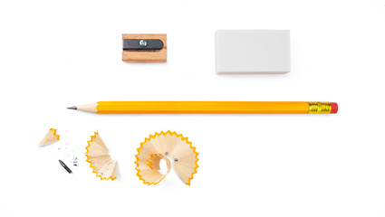 set of writing tools, pencil, eraser and sharpener isolated on white background