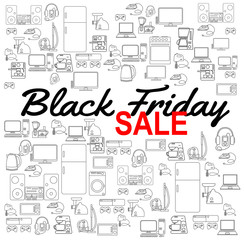 Black friday sale background with  Household appliances icons. Discount template. Various electronics vector icons.