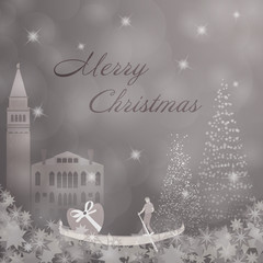 Christmas time. Christmas trees and stars with Gondola. Text : Merry Christmas.