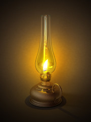 Old vintage oil or kerosene lamp isolated on table