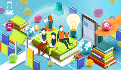 Reading people.  Educational concept. Online library. Online education isometric flat design on blue background. Vector illustration
