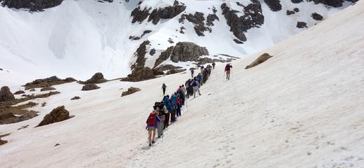 hike on a snowed landscape