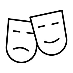Comedy and tragedy theatre masks line icon. Vector illustration