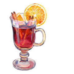 Mulled wine. Watercolor.