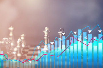 chess boardgames with business graph chart analysis business strategy ideas concept