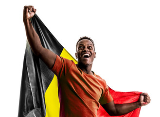 Belgian afro fan holding the national flag
