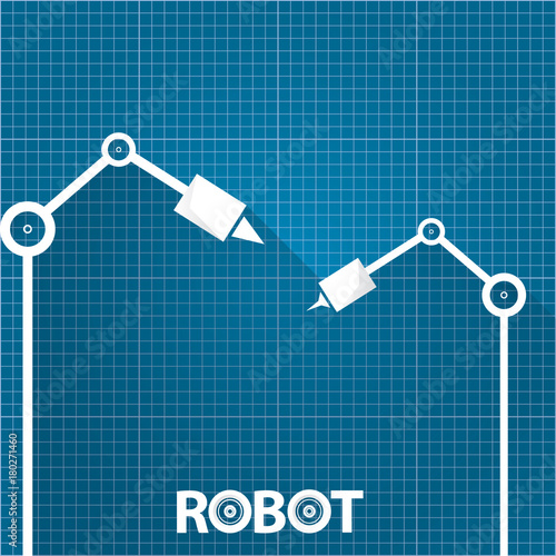 Vector robotic arm symbol on blueprint paper background robot vector robotic arm symbol on blueprint paper background robot hand technology background design malvernweather Gallery