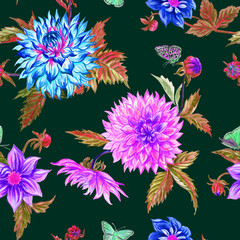 Seamless pattern of dahlias on a claret background. Watercolor floral background.