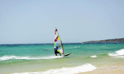 Windsurfing in Tarifa, Cadiz coast, Spain