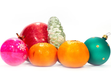 beautiful glass Christmas toys and tropical fruits