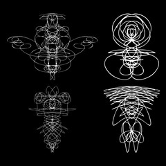 Voodoo spirits symmetrical symbols set. Abstract geometric hand drawn spiritual black magic craft insignia Voodoo deity. Occultism, sacred geometry magic alien. Vector.