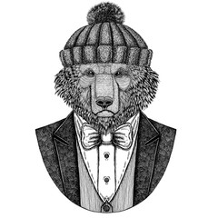 Brown bear Russian bear Hand drawn illustration for tattoo, t-shirt, logotype Bear wearing jacket, vest and bow tie Winter hat Knitted hat