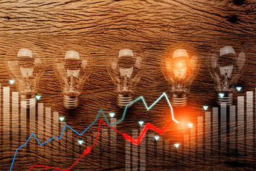 creativity ideas concept with light bulb on wooden texture background and business graph chart ideas concept