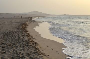 Plage du Cap-Vert en fin de journée, île de Boa Vista