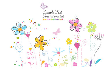 Spring time colorful cute modern doodle flowers illustration background